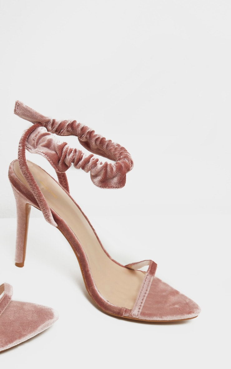 Blush Velvet Ruched Ankle Strap Heeled Sandal 3