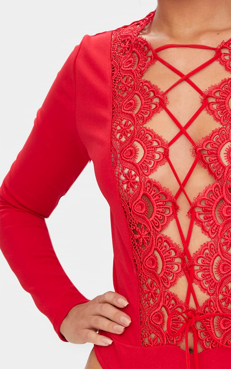 Red Lace Up Longsleeve Thong Bodysuit 6