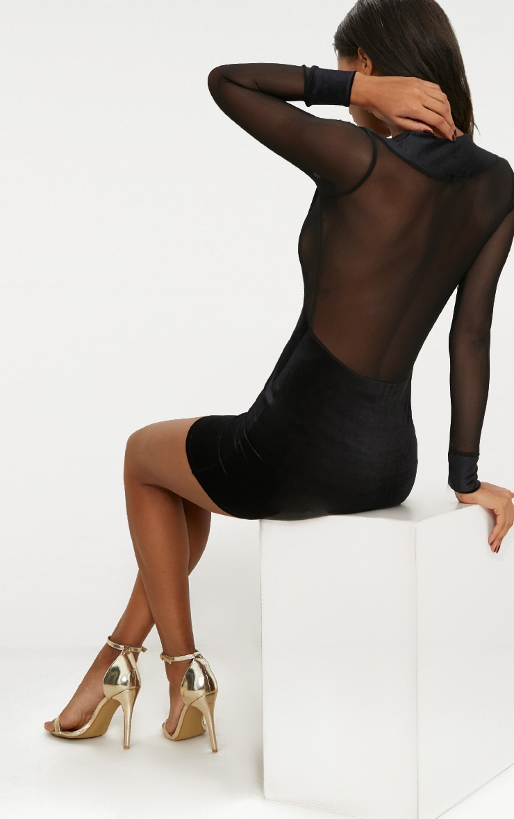 Black Velvet Mesh Panelled Plunge Bodycon Dress 2