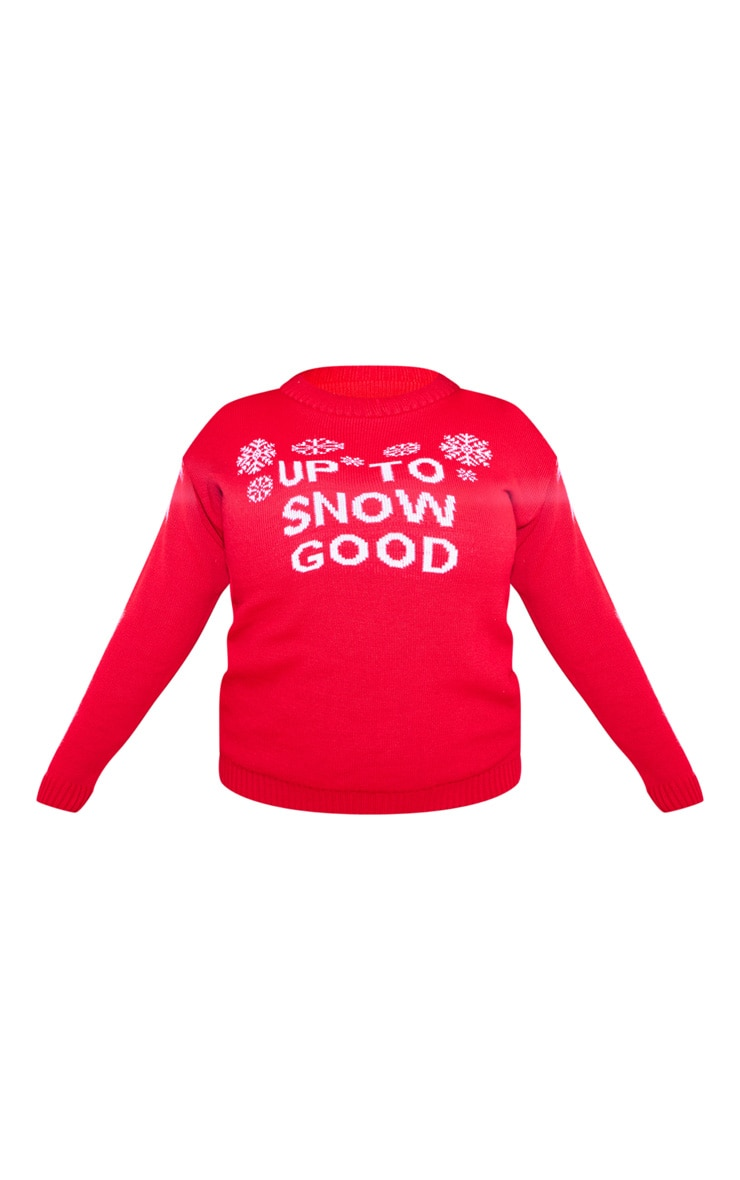 Plus Red Up To Snow Good Christmas Slogan Jumper 3