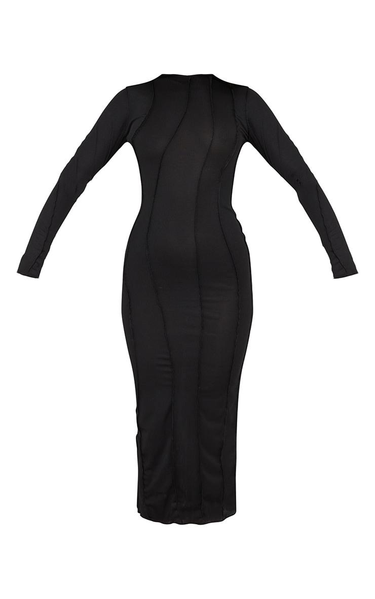 Robe longue noire manches longues côtelée à coutures asymétriques 5