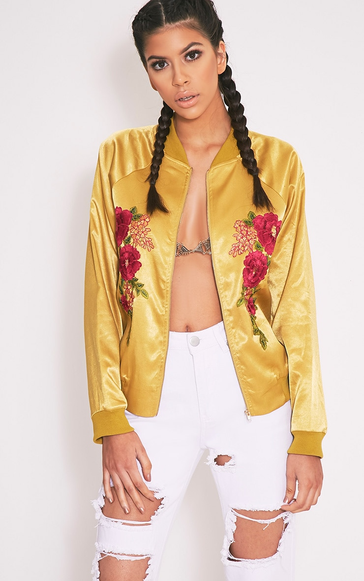 Challah Dark Lime Satin Applique Bomber Jacket 1