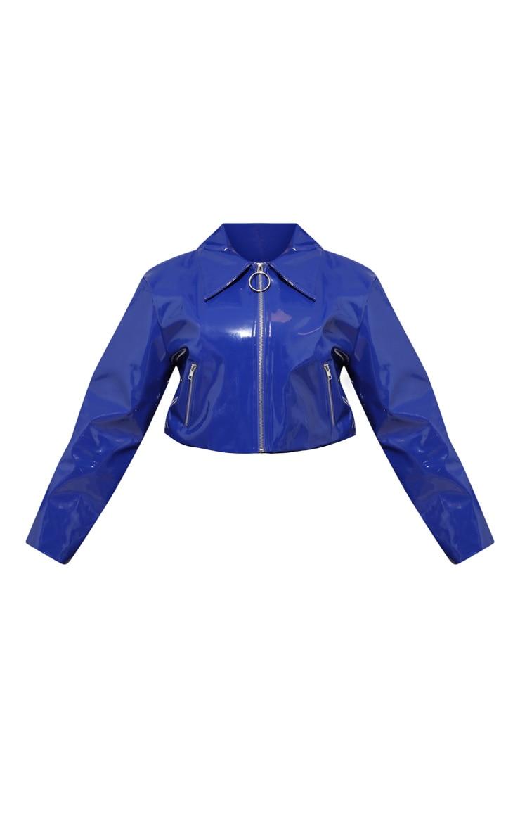 PLT Plus - Veste crop en vinyle bleu cobalt à zip 3
