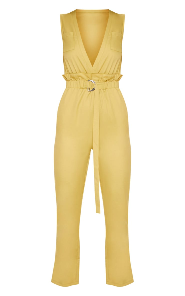 Chartreuse Plunge Belted Detail D Ring Jumpsuit 3