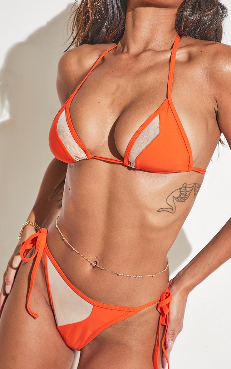 Orange Mesh Panel Bikini Top 7