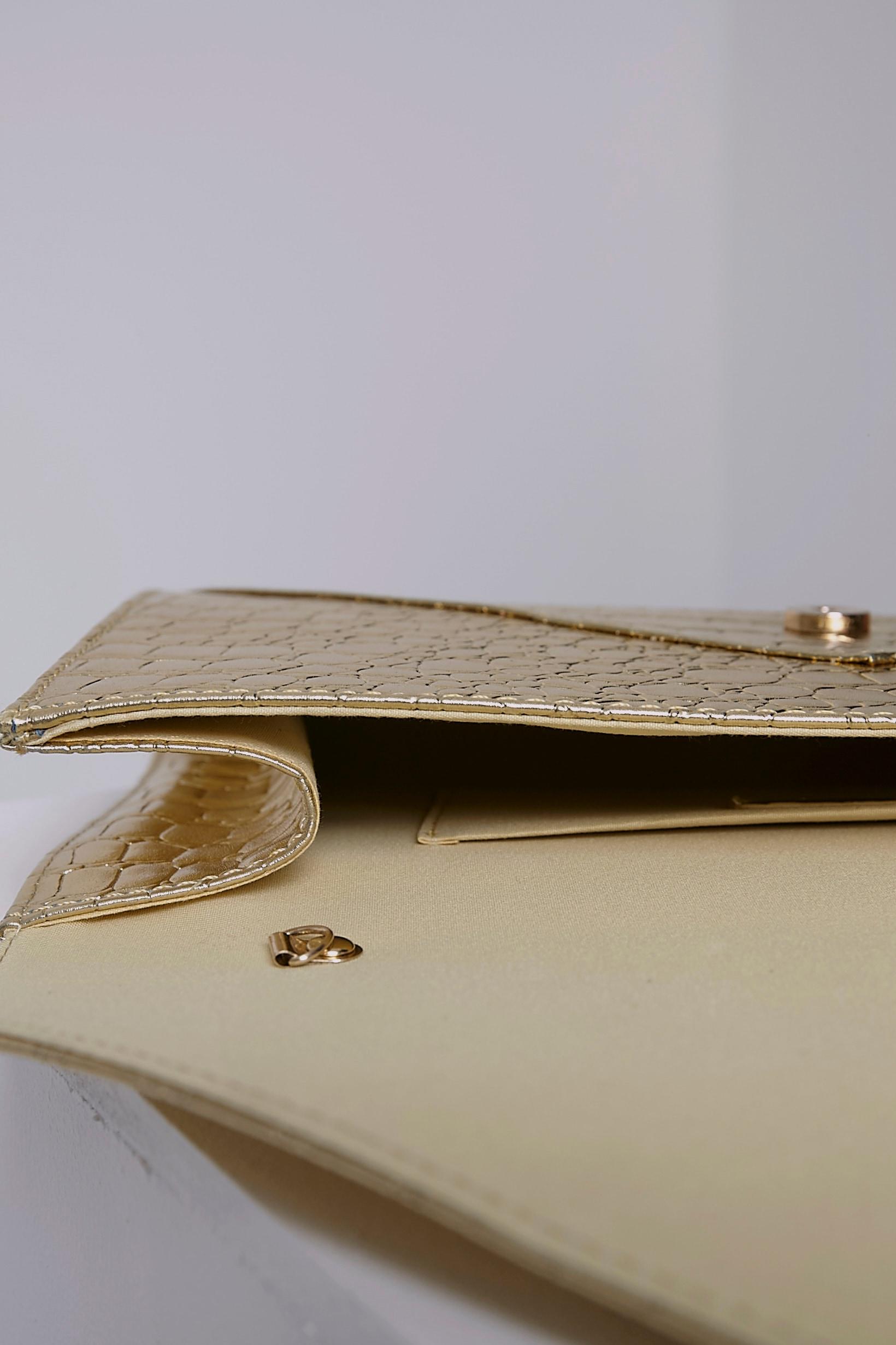 Janie Gold Metallic Croc Clutch Bag 6