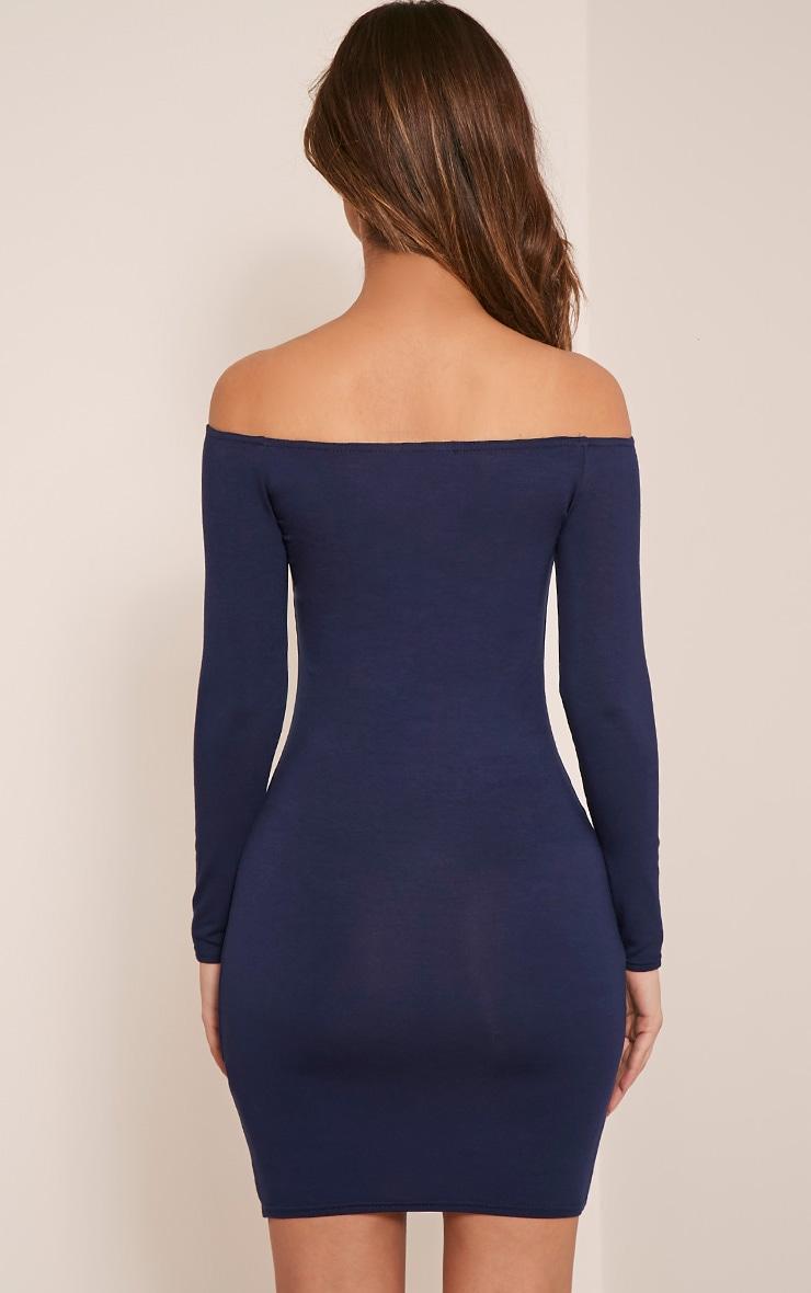 Basic robe moulante bardot bleu marine 2