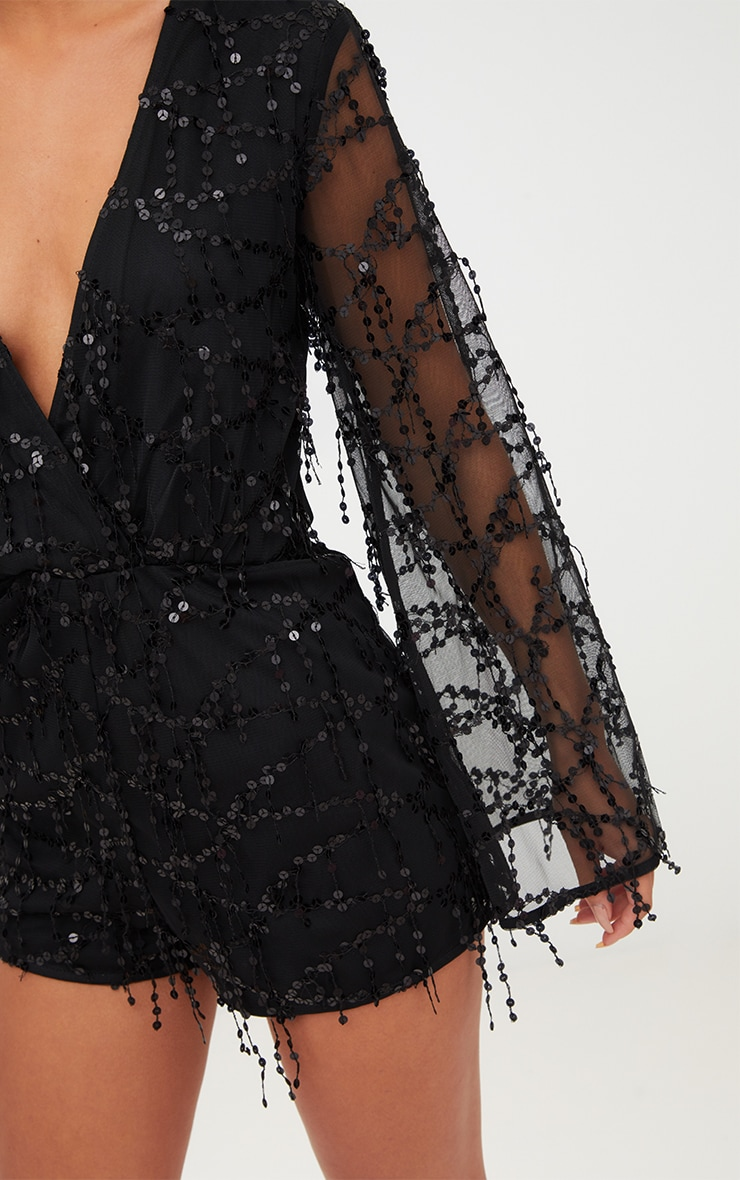 Black Sequin Wrap Front Playsuit 5