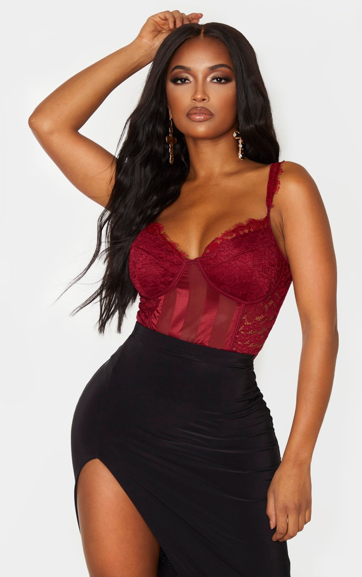 Shape Burgundy Lace Mesh Stripe Bodysuit 1