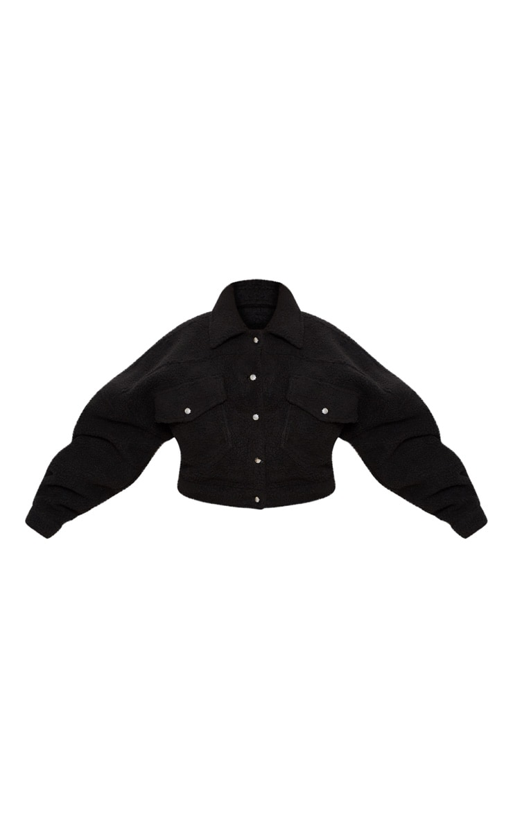 Plus Black Cropped Borg Trucker Jacket 3