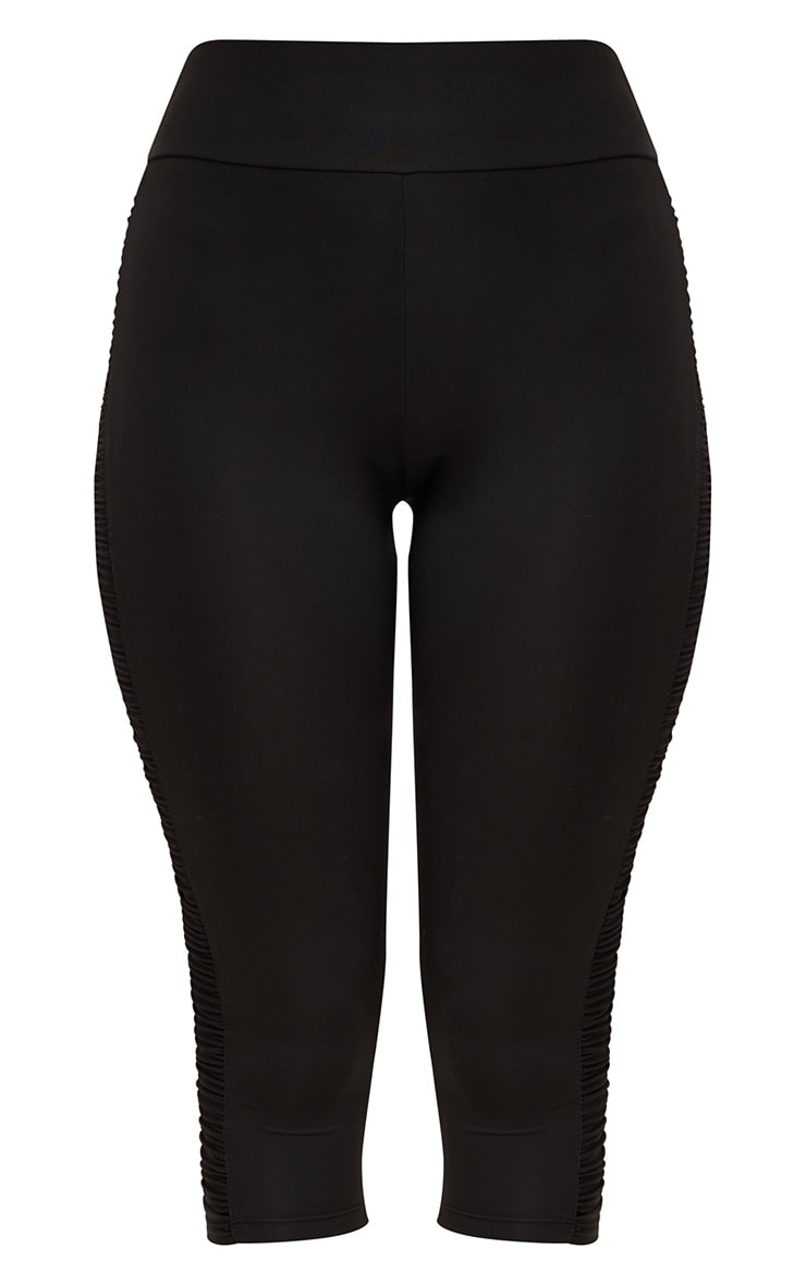 Black Ruched 3/4 Leggings 3