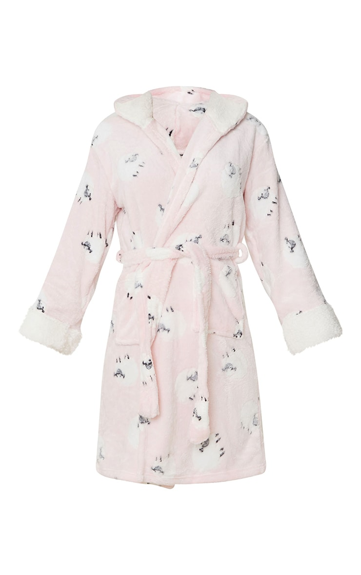 Pink Sheep Printed Hooded Dressing Gown 5