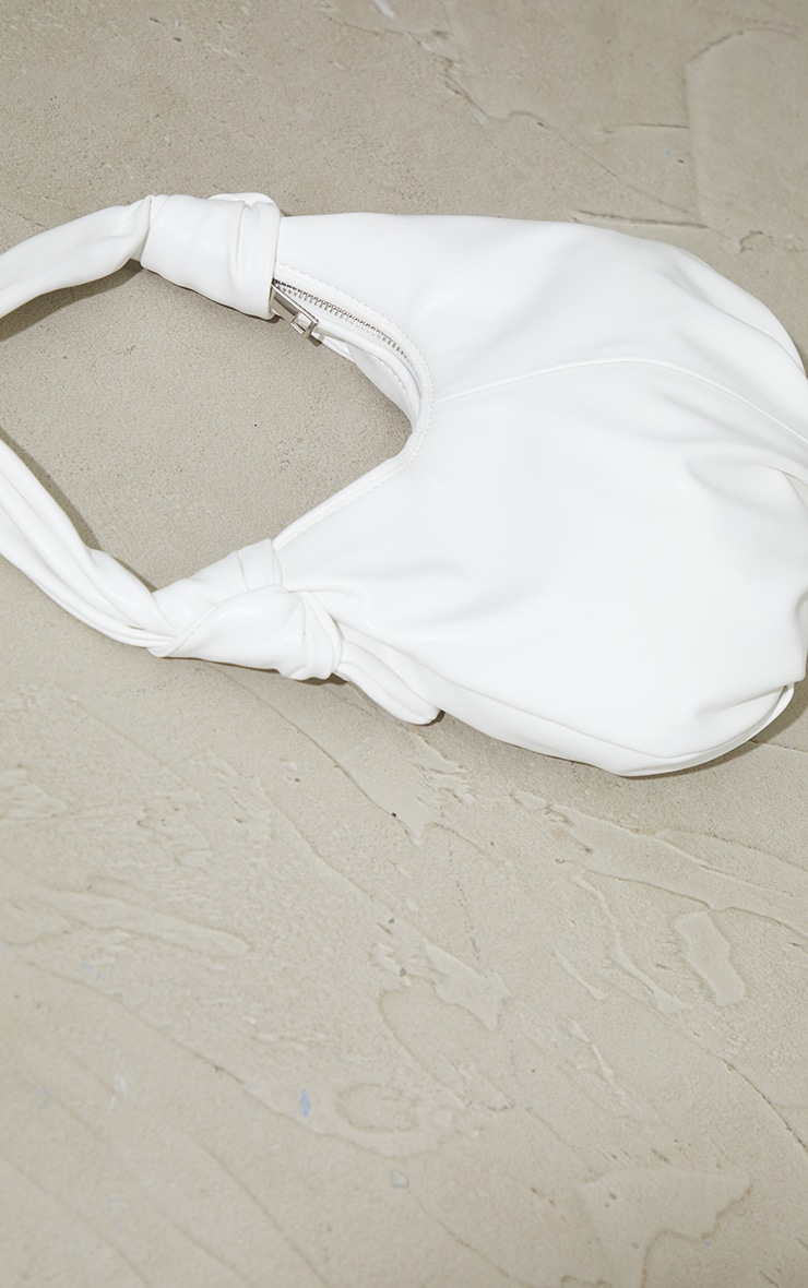 White Double Knot Rounded Shoulder Bag 2