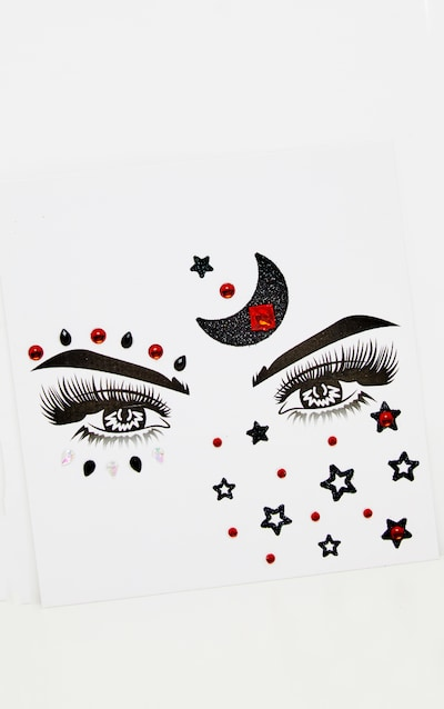 PRETTYLITTLETHING Red Moonchild Face Jewels