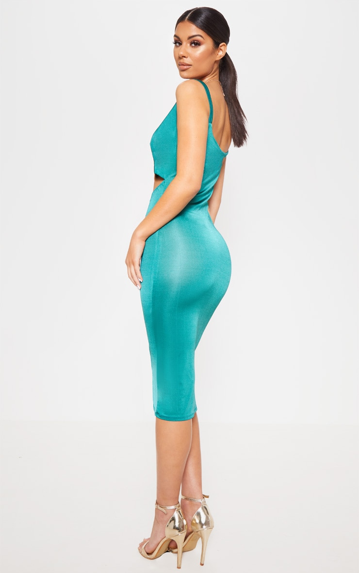 Jade Green Slinky Cut Out Centre Cowl Neck Bodycon Dress 2