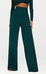 fb3f5c566bab24 Emerald Green Slinky Wide Leg Trousers | PrettyLittleThing