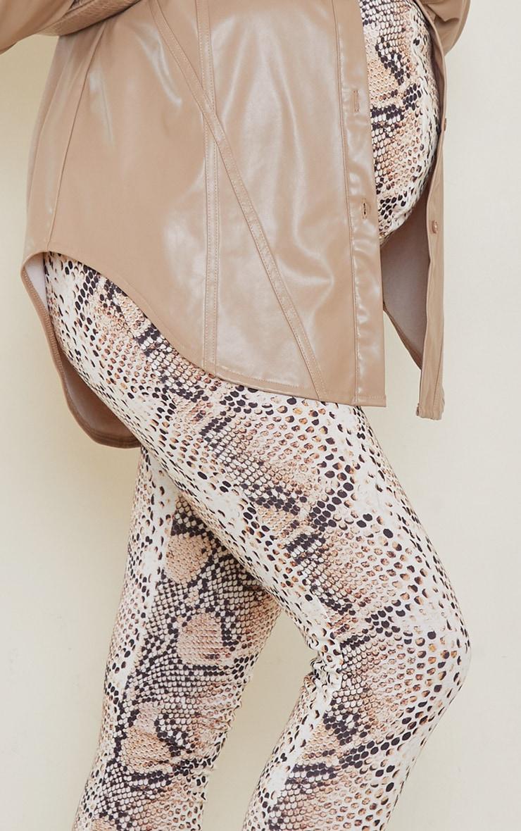 Maternity Brown Snake Print Jersey Leggings 4