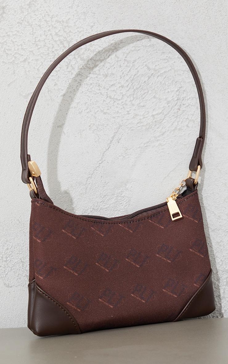 PRETTYLITTLETHING Chocolate Monogram Gold Chain Shoulder Bag 3