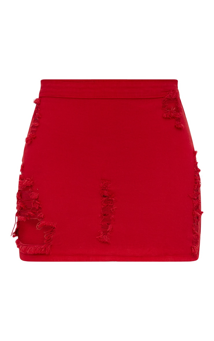 Petite Red Distressed Denim Skirt 3