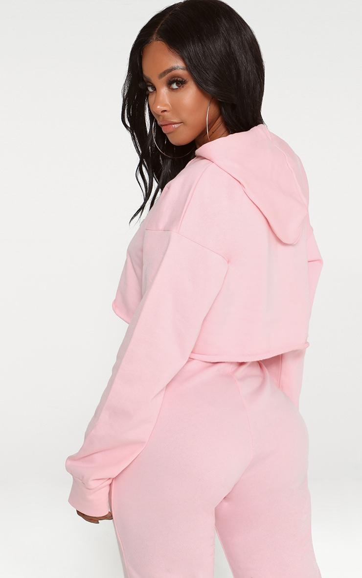 Shape Pink Crop Open Neck Hoodie 2