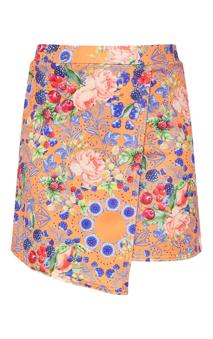 Orange Fruit Printed Dip Hem Mini Skirt  3