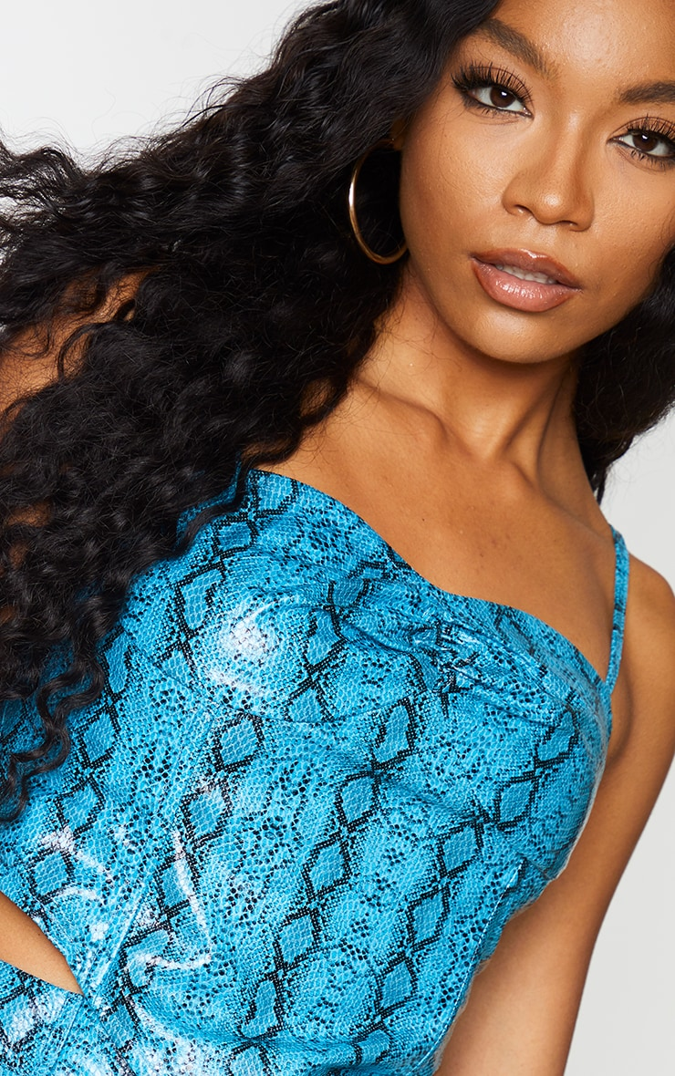 Light Blue Snake Print Faux Leather Cup Detail Strappy Corset Top 4