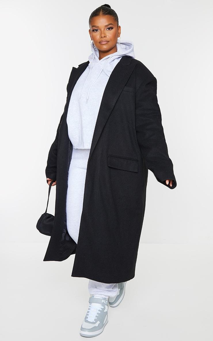 Plus Black Oversized Shoulder Padded Coat 1