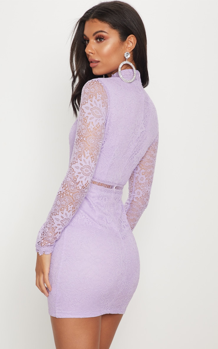 Lilac High Neck Lace Up Bodycon Dress 2