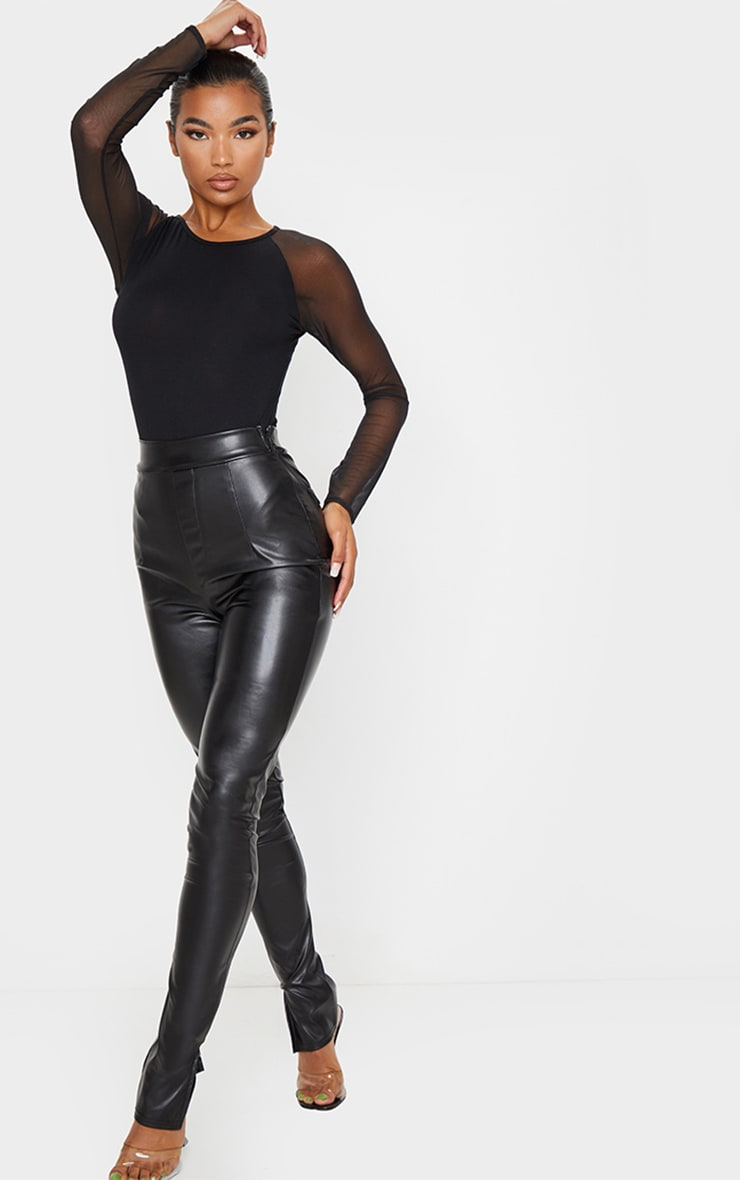 Black Crew Neck Mesh Long Sleeve Bodysuit 3