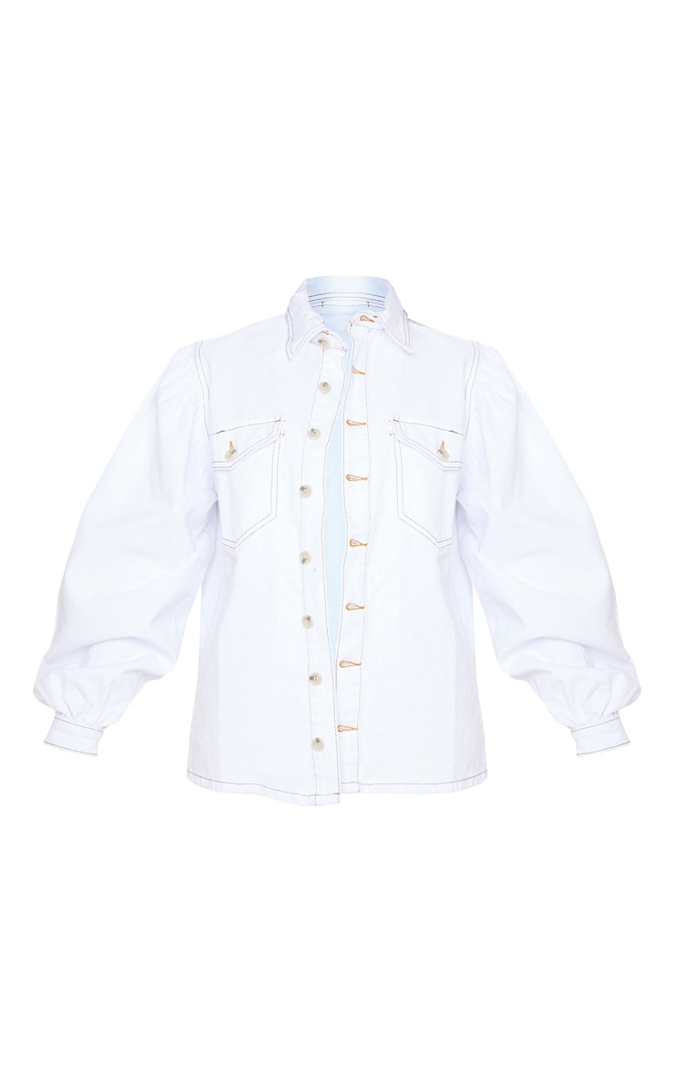 Petite - Chemise en jean oversize blanc à manches bouffantes 3