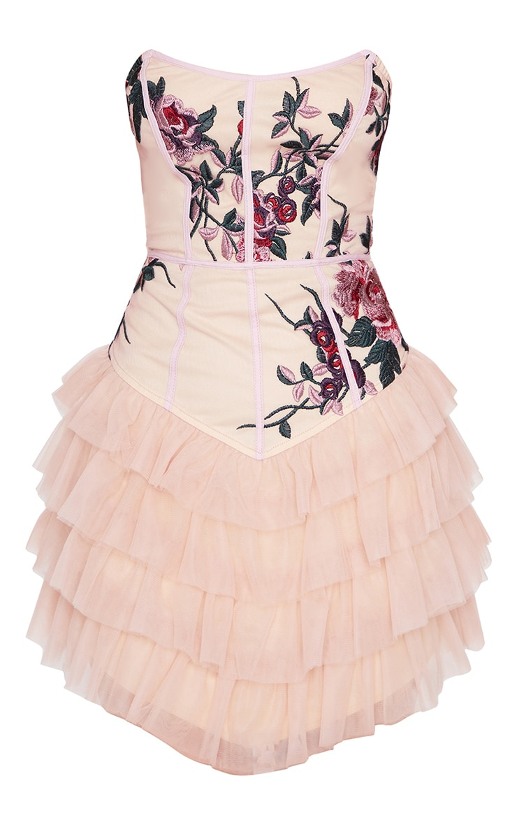 Nude Embroidered Detail Bandeau Tiered Bodycon Dress 5
