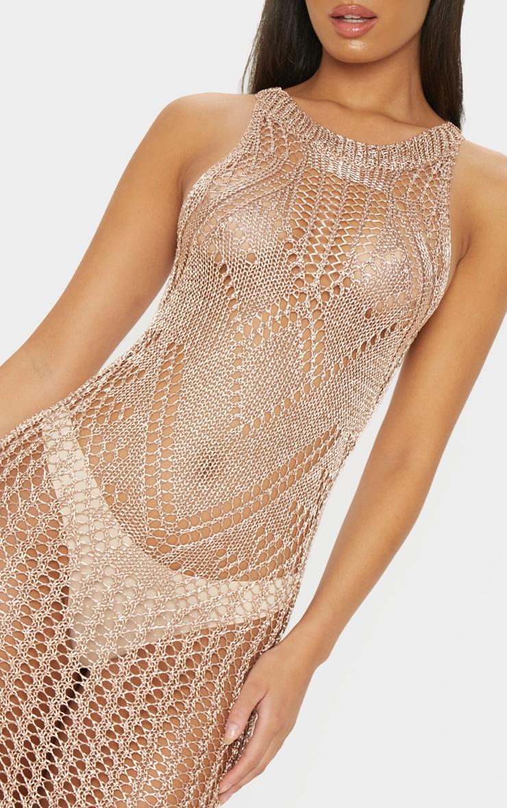 Rose Gold Metallic Knitted Chain Detail Sleeveless Midi Dress 5