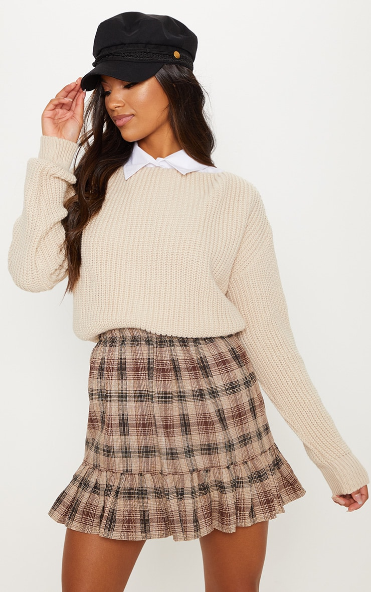 Chocolate Check Frill Hem Mini Skirt  4