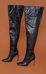 Black Matte Pu Flat Heel Over The Knee Boots 3