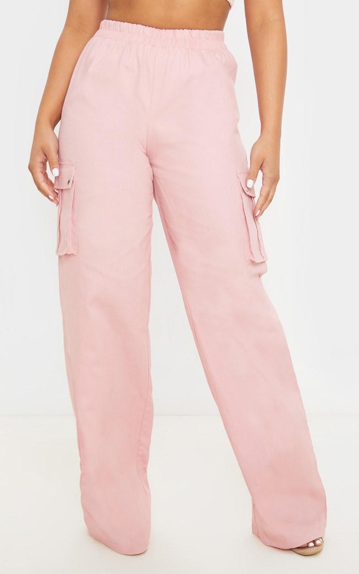 Petite - Pantalon ample cargo rose cendré 2