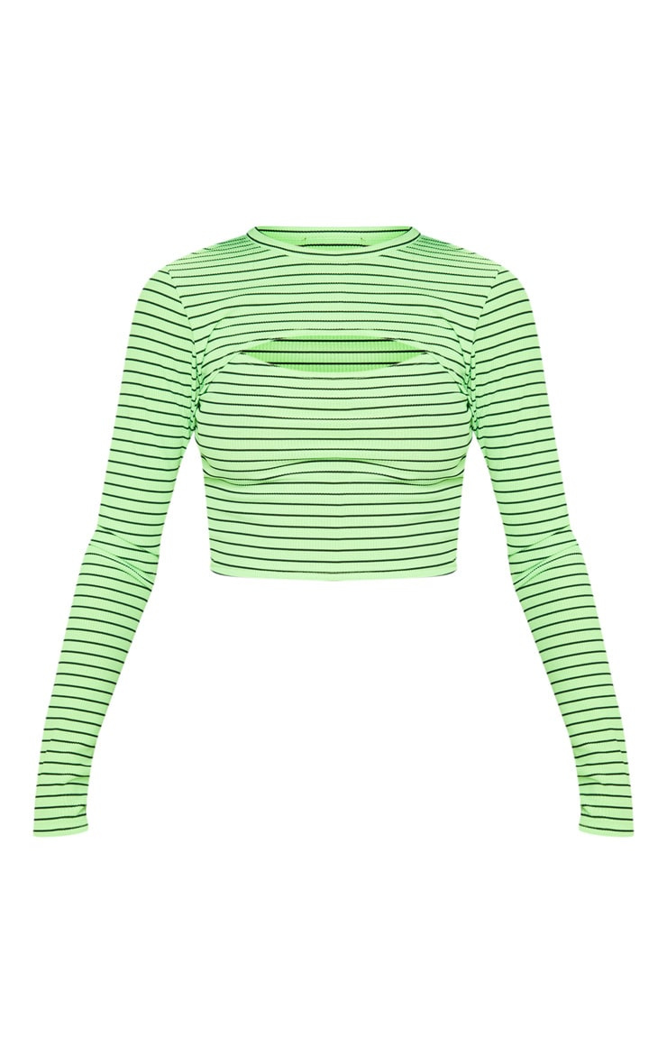Neon Stripe Rib Cut Out Long Sleeve Crop Top 3