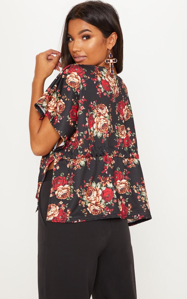 Black Printed Tie Waist Kimono Top  2