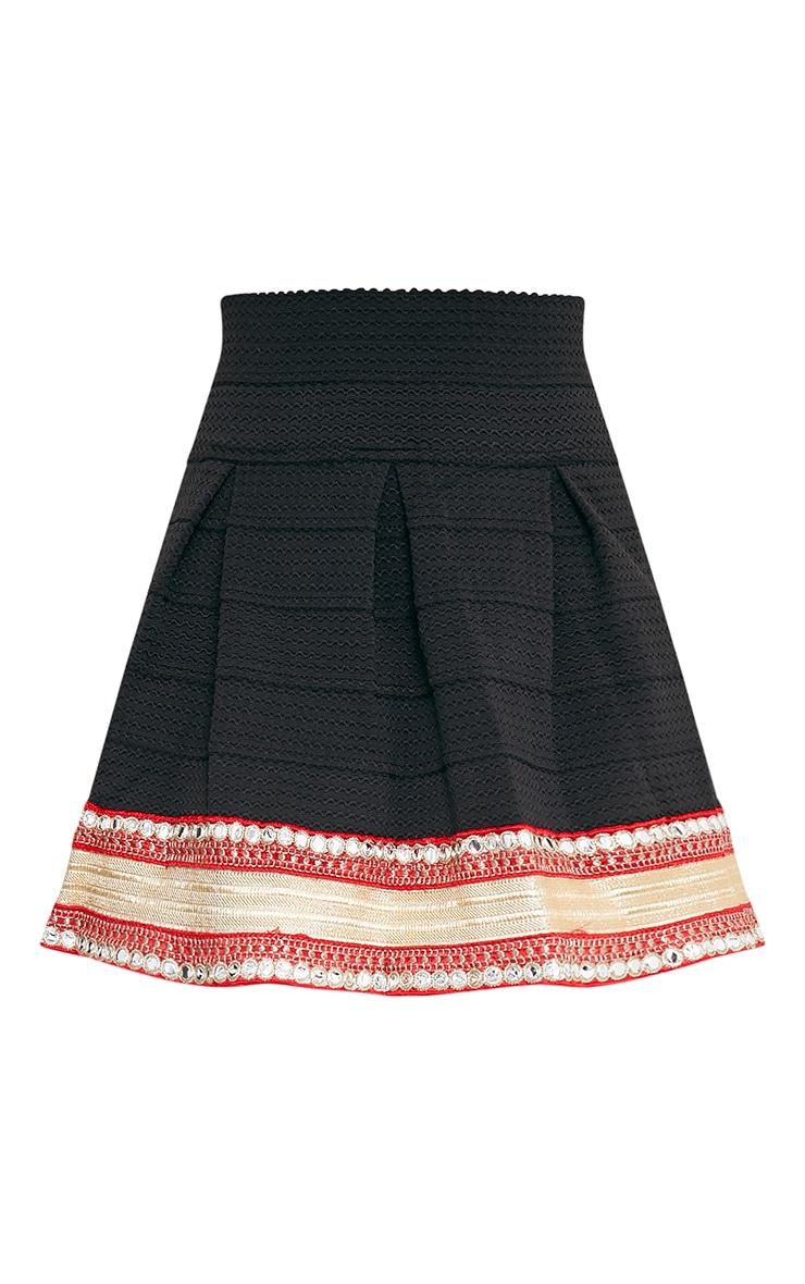 Mirella Black Embellished Bandage Skirt  3
