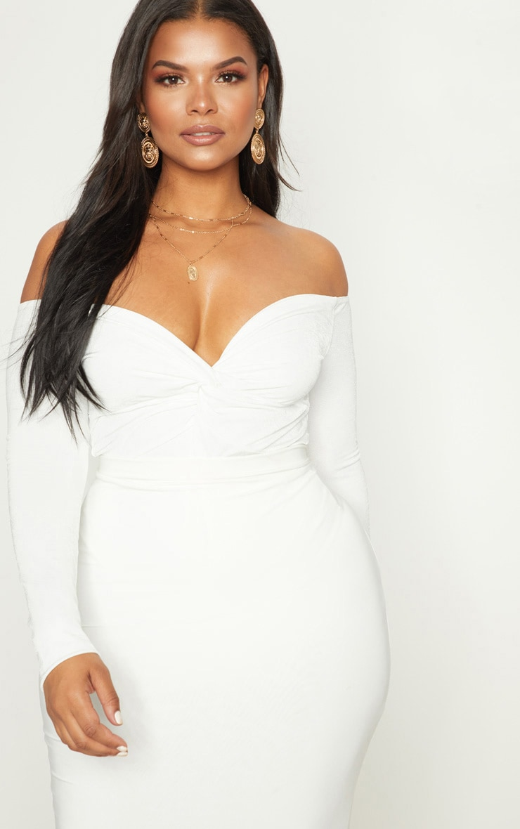 Plus White Slinky Twist Front Bardot Bodysuit 1
