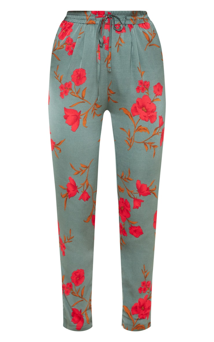 Green Floral Print Cigarette Pants 3