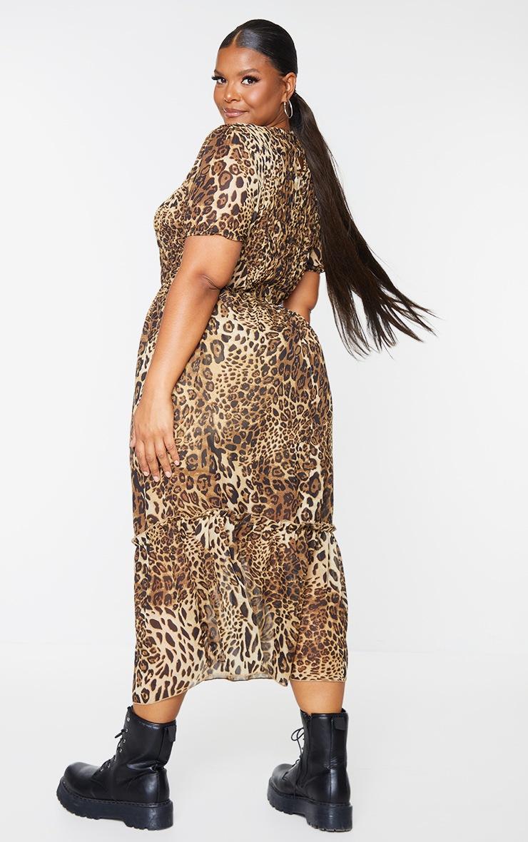 Plus Brown Leopard Print Chiffon Shirred Maxi Dress 2