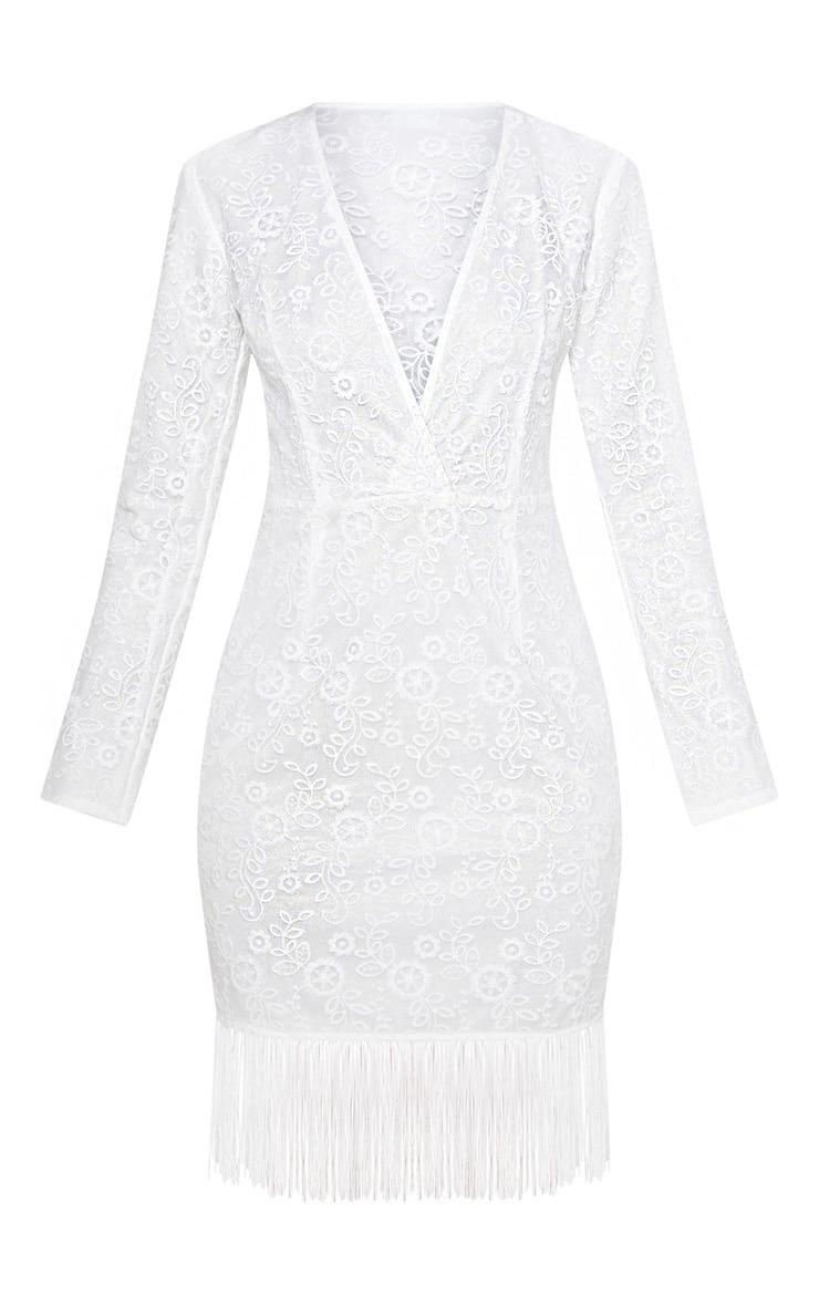White Lace Tassel Hem Bodycon Dress 3