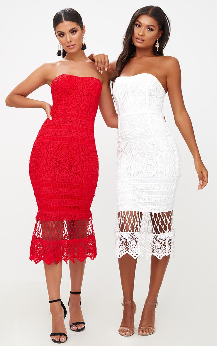 Red Lace Bandeau Longline Midi Dress 6