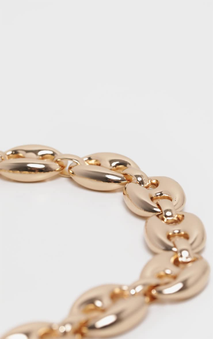 Gold Circular Linked Chunky Chain Necklace 4