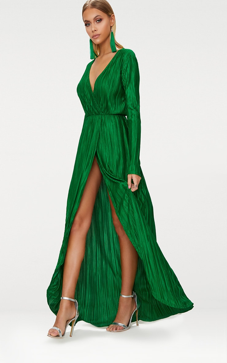 8ce8e9ee9ba Bright Green Pleated Wrap Front Long Sleeve Maxi Dress image 1