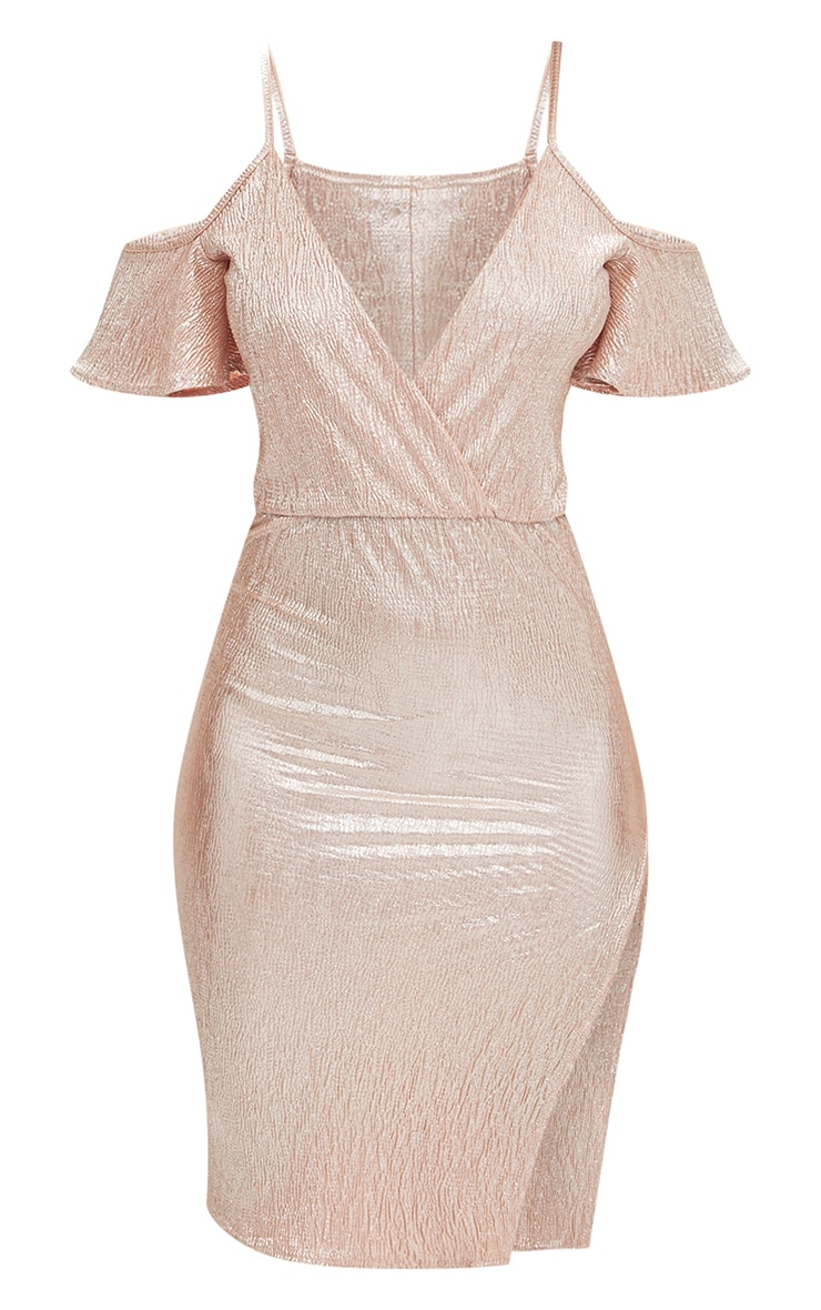 Dusty Pink Pleated Foil Cold Shoulder Wrap Midi Dress 3