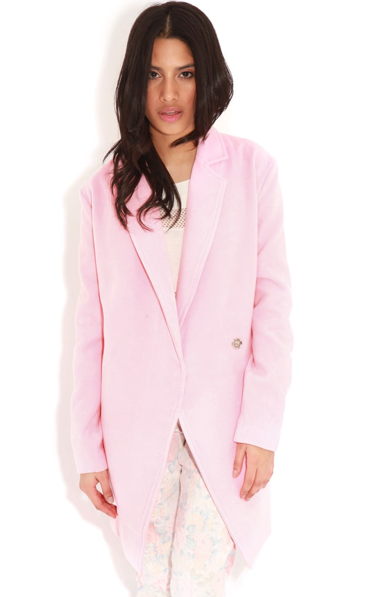 Taylor Pink Wool Cross Over Boyfriend Coat 4