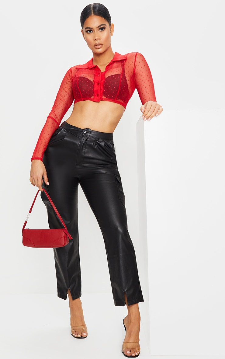 Red Dobby Mesh Cropped Shirt 3