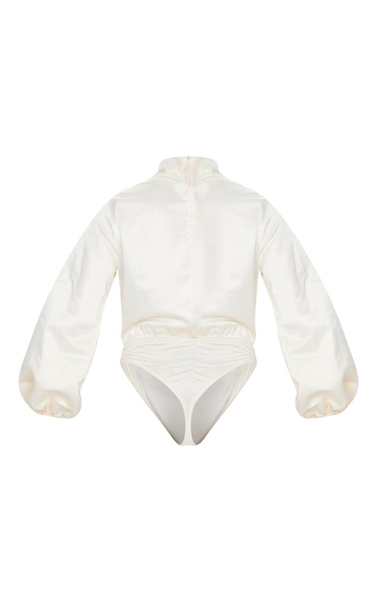 Cream High Neck Woven Puff Sleeve Bodysuit 5