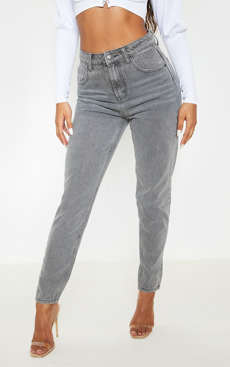 Washed Grey Mom Jeans  2